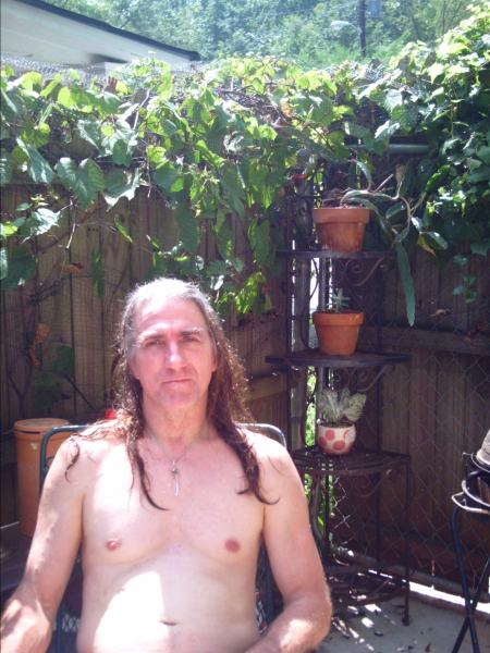 Fresh washed husband in the garden.