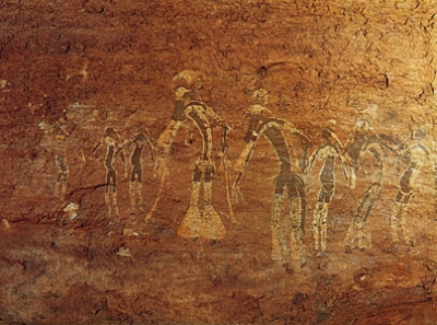 neolithic dancers on a cave wall in Morocco