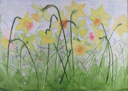 Watercolor:  Springtime Daffs, janekohut-bartels, 2006