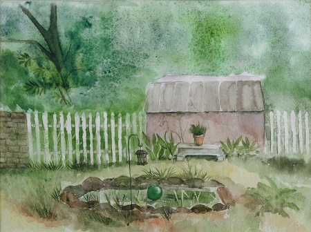 "Watercolor, janekohut-bartels, 2007, ""Garden Shed"""