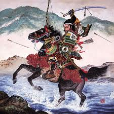 Samurai in Battle on Horse