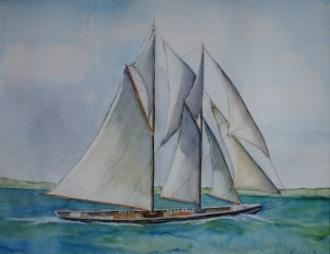 Sailboat, watercolor, Jane kohut-bartels, 2006