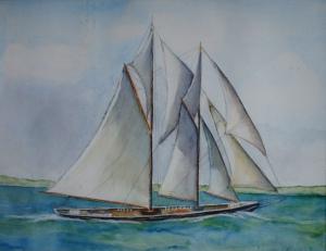 Sailboat, watercolor, Jane kohut-bartels, 2006