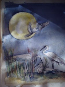 Cover for White Cranes of Heaven, 2011, Lulu.com Watercolor, janekohut-bartels